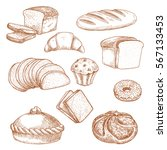 sketch of bread and pastry food.... | Shutterstock .eps vector #567133453