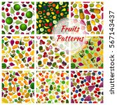 set of fruit seamless patterns. ... | Shutterstock .eps vector #567143437