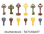 vintage key vector isolated... | Shutterstock .eps vector #567146647