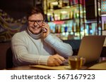 handsome young man in glasses... | Shutterstock . vector #567167923