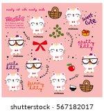 cute cat doodle pattern | Shutterstock .eps vector #567182017