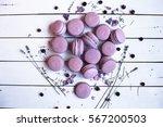 sweet lavender macaron french | Shutterstock . vector #567200503