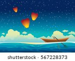 cartoon wooden boat at the blue ... | Shutterstock .eps vector #567228373
