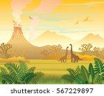 prehistoric landscape   volcano ... | Shutterstock .eps vector #567229897