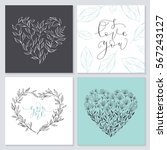 set of valentine's day cards.... | Shutterstock .eps vector #567243127
