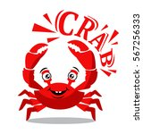 funny red crab cartoon with... | Shutterstock .eps vector #567256333