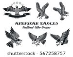 vector american eagles set... | Shutterstock .eps vector #567258757