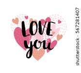 love card with  hearts and... | Shutterstock .eps vector #567281407