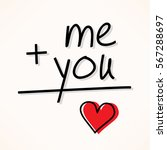 me plus you equals love...