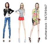 fashion girls | Shutterstock . vector #567293467