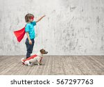 Stock photo little hero with dog indoors 567297763