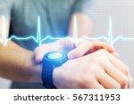view of a heart beat analysing...   Shutterstock . vector #567311953