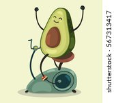 cute avocado makes exercise on... | Shutterstock .eps vector #567313417
