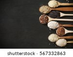 row of wood spoons with various ... | Shutterstock . vector #567332863