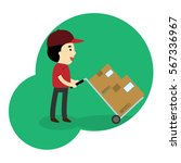 young man moving boxes with... | Shutterstock .eps vector #567336967