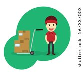 young man moving boxes with... | Shutterstock .eps vector #567337003