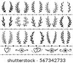 hand drawn set of vintage... | Shutterstock .eps vector #567342733