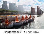 Small photo of Rows of circle promenade motor boat at rest with man in one and construction buildings aback in Seoul