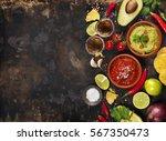 mexican food concept  tortilla... | Shutterstock . vector #567350473
