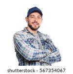 long haul truck driver on white ... | Shutterstock . vector #567354067
