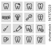 vector line teeth icons set | Shutterstock .eps vector #567372223