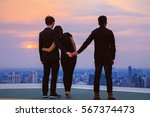 Small photo of Businessman with his wife, and holding hand, adultery, twilight sky scene