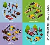sawmill 2x2 design concept set... | Shutterstock .eps vector #567391303