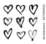 set of hand drawn hearts.... | Shutterstock .eps vector #567396943