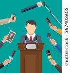 public speaker and hands of... | Shutterstock . vector #567403603
