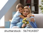 beautiful young woman and her... | Shutterstock . vector #567414307