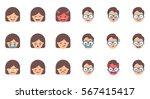 set of emoji  stickers. female... | Shutterstock .eps vector #567415417