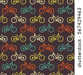 retro bike seamless pattern.... | Shutterstock .eps vector #567429463