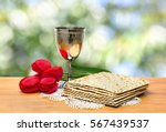 matzo  wine and red tulips for... | Shutterstock . vector #567439537