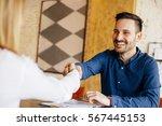 businessman and businesswoman...   Shutterstock . vector #567445153