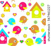 cute bird  house  birdhouse... | Shutterstock .eps vector #567461227