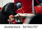 welding industrial  worker in... | Shutterstock . vector #567461707