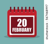 calendar with 20 february in a...