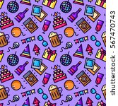 party seamless pattern with... | Shutterstock .eps vector #567470743