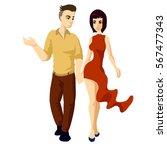 man walking with woman romantic ... | Shutterstock .eps vector #567477343