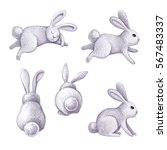 watercolor bunny illustration ... | Shutterstock . vector #567483337