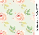 watercolor flower pattern | Shutterstock . vector #567491737