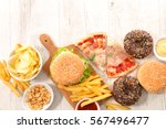 collection of junk food | Shutterstock . vector #567496477
