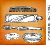 bathroom set  toothpaste ... | Shutterstock .eps vector #567497587