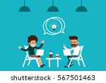 two coworkers meeting in coffee ... | Shutterstock .eps vector #567501463