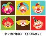 set of colorful clown heads....