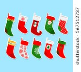 christmas socks stickers.... | Shutterstock .eps vector #567512737