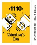 fourteen in binary. valentine's ... | Shutterstock .eps vector #567518137