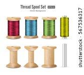 thread spool set. bright... | Shutterstock .eps vector #567536317