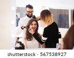 beauty salon  the girl makeup...   Shutterstock . vector #567538927