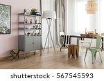 bright dining room interior... | Shutterstock . vector #567545593